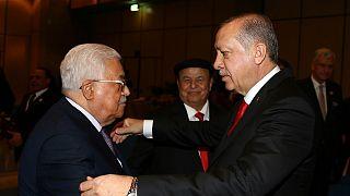 Filistin Devlet Başkanı Mahmud Abbas ve Türkiye Cumhurbaşkanı Recep Tayyip Erdoğan