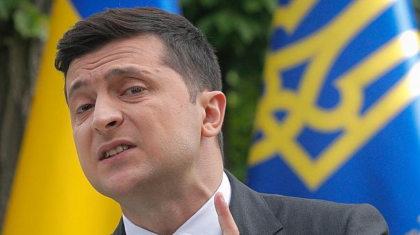 Ukraine's President Volodymyr Zelenskyy speaks to the media during a news conference in Kyiv Ukraine Wednesday