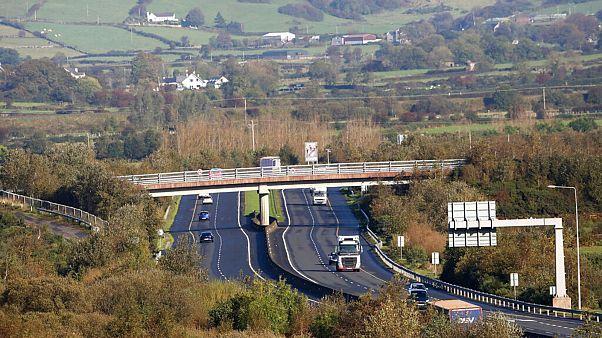 File - The M1 motorway crossing the Irish border near the town of Jonesborough, Republic of Ireland, looking across the border into Northern Ireland