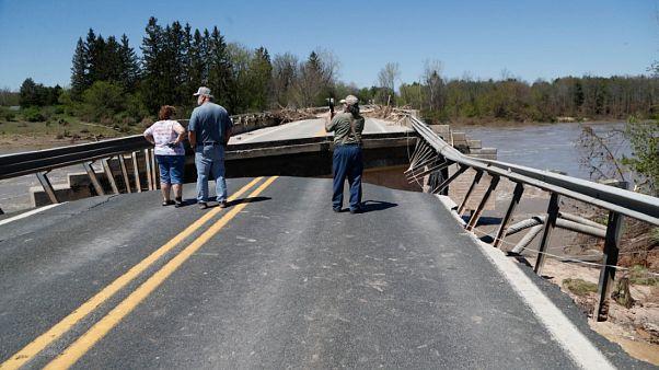 انهيار سد إيدينفيل في مقاطعة ميدلاند نتيجة هطول كميات كبيرة من الأمطار