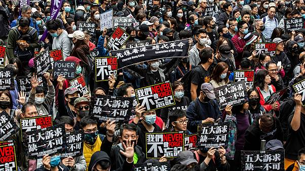 Hong Kong protestolarından bir kare