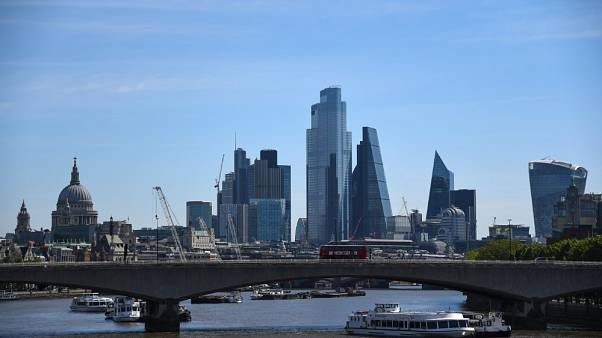Waterloo Bridge e la skyline di Londra, Regno Unito