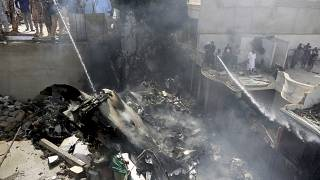 The plane crashed in a residential area of Karachi