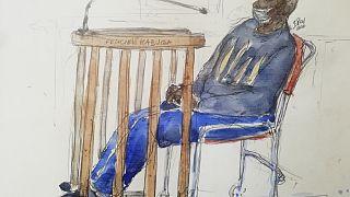 رسم لقاعة المحكمة ووجود فيليسيان كابوغا، أحد آخر المشتبه بهم الرئيسيين في الإبادة الجماعية في رواندا  20/05/2020