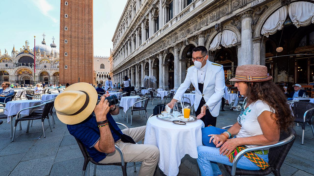 A terrace on St. Mark's Square in Venice reopened after the three month lockdown aimed at curbing the spread of the COVID-19 infection. 12 June 2020