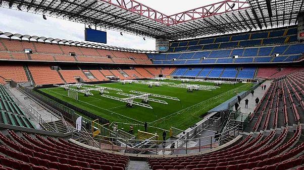 نظرة عامة على ملعب سان سيرو في ميلانو، إيطاليا، 4 أبريل 2019