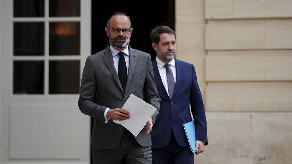 French Prime Minister Edouard Philippe, left, and French Interior Minister Christophe Castaner, arrive to present the details of the health procedures to be adopted for the up