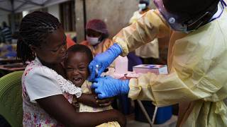 In this Saturday, July 13, 2019 file photo, a child is vaccinated against Ebola in Beni, Congo.