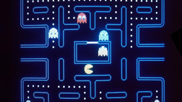 This close up view of a monitor shows the electronic video game Pac-Man in 1983. (AP Photo)