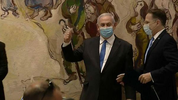 Netanyahu, durante su encuentro de formación de Gobierno con Benny Ganz