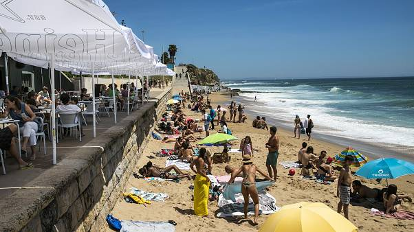 People flocked to the beaches after lockdown in Portugal.