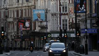 Closed Theatres on London's empty Shaftesbury Avenue in March 2020