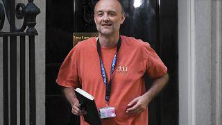Britain's Prime Minister Boris Johnson's senior aid Dominic Cummings leaves 10 Downing Street, in London, Sunday, May 24, 2020.