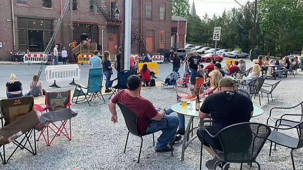 People celebrate Memorial Day weekend outside a bar in Pennsylvania