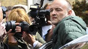 Britain's Prime Minister Boris Johnson's senior aid Dominic Cummings leaves his home, in London, Sunday, May 24, 2020.