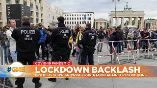 Police and protesters in Berlin, Germany