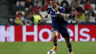 Lyon's Memphis Depay during a Champions League match against Benfica in Lisbon on Oct. 23, 2019.