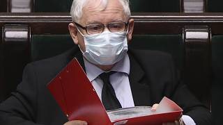 Poland's main ruling party leader, Jaroslaw Kaczynski, wears an anti-coronavirus mask in parliament.
