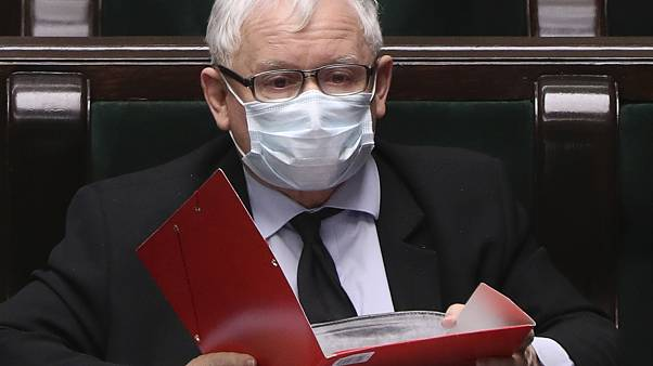 Poland's main ruling party leader, Jaroslaw Kaczynski, wears an anti-coronavirus mask in parliament.