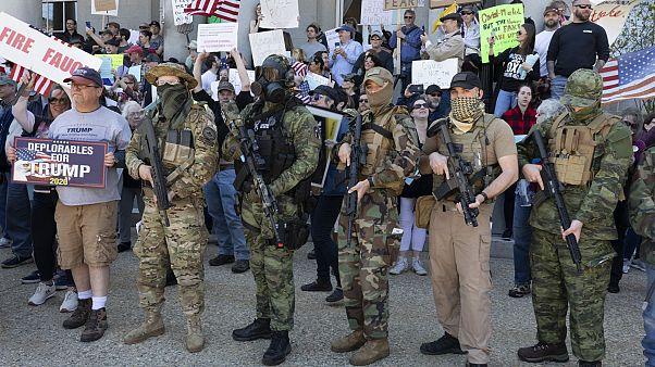 Manifestazione contro le misure di contenimento anti-Covid-19 a Concord, New Hampshire, il 2 maggio 2020.