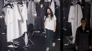 Designer Alessandro Michele walks out at the end of Gucci's Fall/Winter 2020/2021 collection, presented in Milan, Italy. (February, 2020)
