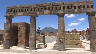 Pompei forum and Vesuvius volcano