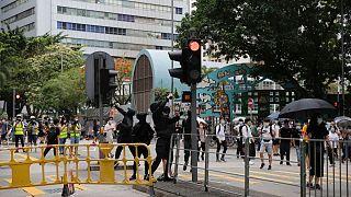 جانب من الاحتجاجات في هونغ كونغ على مشروع بكين للأمن القومي