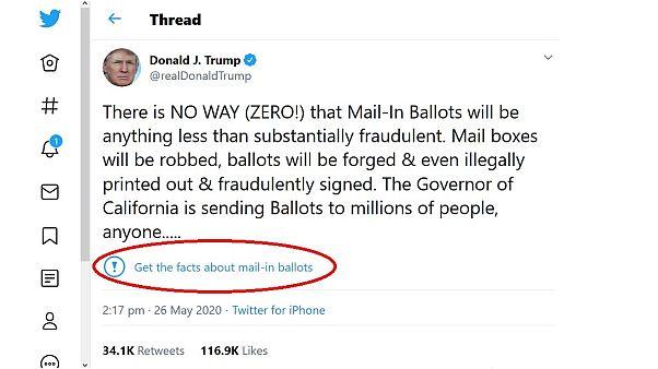 Donald Trump bejegyzése a Twitter jelzetével