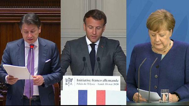 Giuseppe Conte/Emmanuel Macron/Angela Merkel