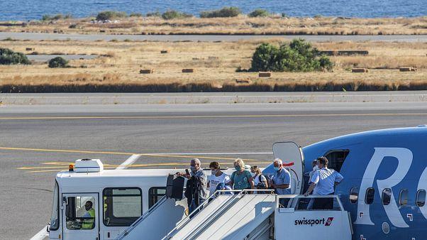 Primera llegada de un vuelo internacional al aeropuerto de Heraklion, Creta, el pasado 1 de julio.