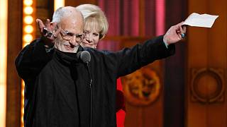 """In this June 12, 2011 file photo, Larry Kramer accepts the Tony Award for Best Revival of a Play for """"The Normal Hearrt""""."""