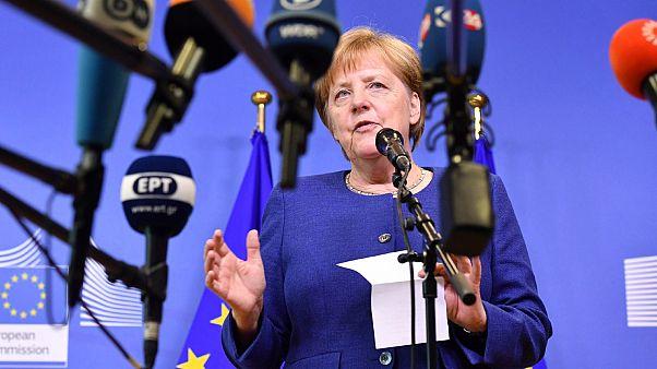 Angela Merkel speaking in Brussels