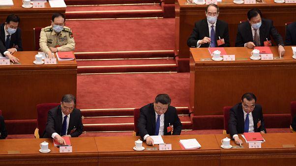 Vote du projet sur la sécurité à Hong Kong par les députés chinois, en présence du président Xi Jinping, à Pékin le 28 mai 2020