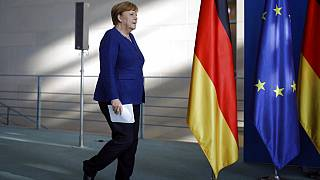 German Chancellor Angela Merkel arrives to address a press conference in Berlin, Wednesday May 20, 2020.