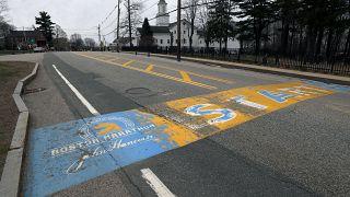 Línea de salida del maratón de Boston en Hopkinton