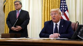 President Donald Trump speaks before signing an executive order aimed at curbing protections for social media giants, in the Oval Office of the White House.