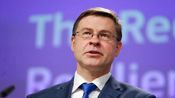 Valdis Dombrovskis during a video press conference in Brussels, Thursday, May 28