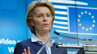 EU Commission President Ursula von der Leyen at the European Council building in Brussels, Thursday, April 23, 2020