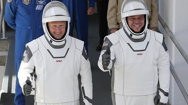 NASA astronauts Douglas Hurley, left, and Robert Behnken at the Kennedy Space Center in in Cape Canaveral, US, Saturday, May 30, 2020