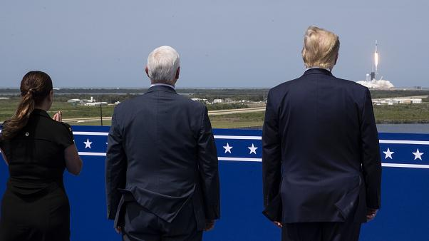 President Donald Trump, Vice President Mike Pence and Karen Pence view the SpaceX flight to the International Space Station, at Kennedy Space Center, Saturday, May 30