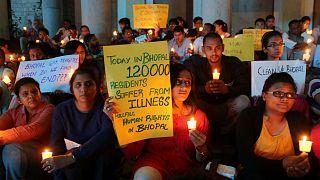 مظاهرة مطالبة بتعويض سكان بوبال