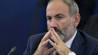 Armenian Prime Minister Nikol Pashinyan attends the Eurasian Economic Council in Yerevan, Armenia, Tuesday, Oct. 1, 2019