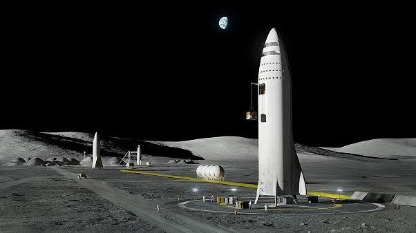 Ay'daki SpaceX kapsülleri - sentez görsel
