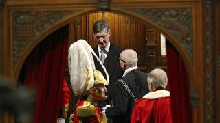 Leader of the House of Commons Jacob Rees-Mogg in the House of Lords at the Palace of Westminster in London, Thursday Dec. 19, 2019.