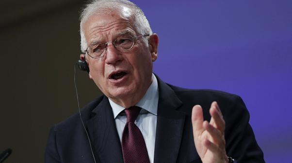 European Union foreign policy chief Josep Borrell addresses a video press conference at EU headquarters in Brussels, Tuesday, June 2, 2020.