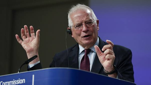European Union foreign policy chief Josep Borrell addresses a video press conference at EU headquarters in Brussels, Tuesday, June 2, 2020