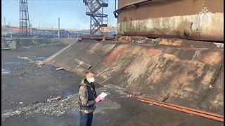 Место аварии на ТЭЦ-№ в Норильске.