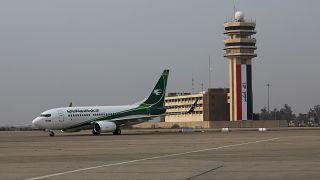 An Iraqi Airways plane arrives at Baghdad airport, Iraq