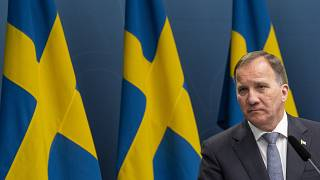 Sweden's PM Stefan Lofven gives a press conference about the situation on the COVID-19 pandemic, at the government headquarters in Stockholm, Sweden, on May 29, 2020.