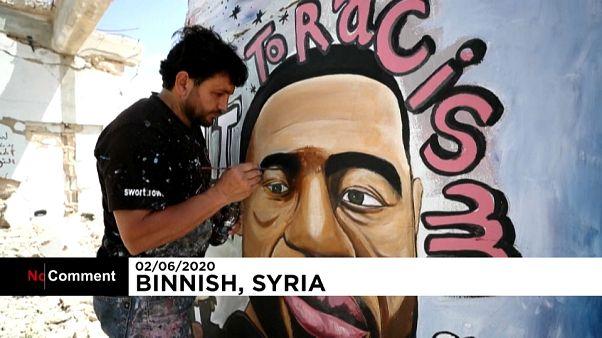 Homenaje a George Floyd en Binnish, Siria